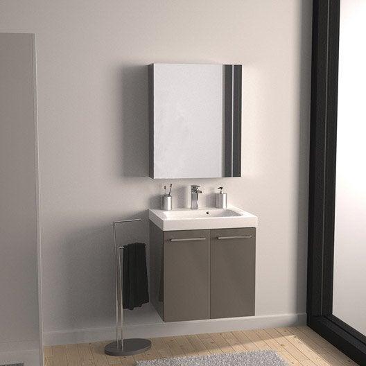 Meuble de salle de bains remix brun taupe n 3 2 for Porte meuble salle de bain leroy merlin