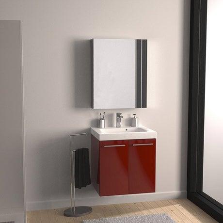 Meuble sous-vasque l.61 x H.57.7 x P.46 cm, rouge, SENSEA Remix