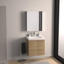 Meuble sous-vasque l.61 x H.57.7 x P.46 cm, imitation chêne, SENSEA Remix