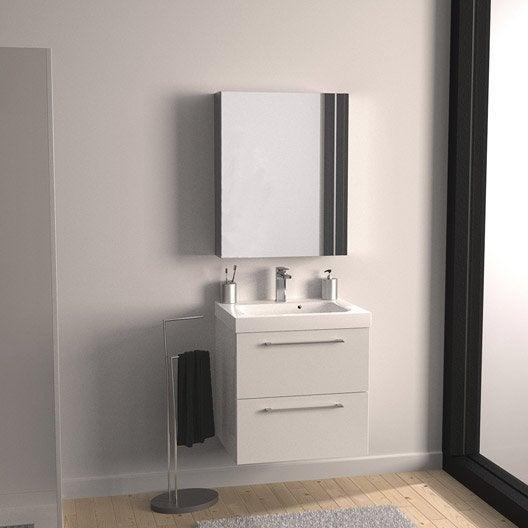 Meuble vasque l.61 x H.57.7 x P.46 cm, blanc, SENSEA Remix
