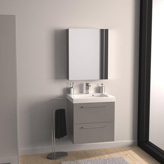 Meuble de salle de bains remix gris galet n 3 61x48 5 cm for Meuble salle de bain collection remix leroy merlin