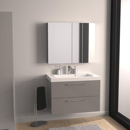 meuble de salle de bains remix gris galet n 3 91x48 5 cm 2 tiroirs leroy merlin. Black Bedroom Furniture Sets. Home Design Ideas