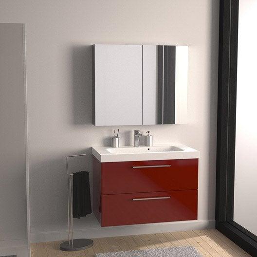 meuble vasque l91 x h577 x p46 cm rouge - Salle De Bain Rouge Leroy Merlin
