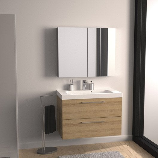 Meuble de salle de bains remix imitation ch ne 91x48 5 cm 2 tiroirs leroy - Meuble miroir salle de bain leroy merlin ...
