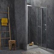 Porte de douche pivotante SENSEA Remix, verre de sécurité transparent