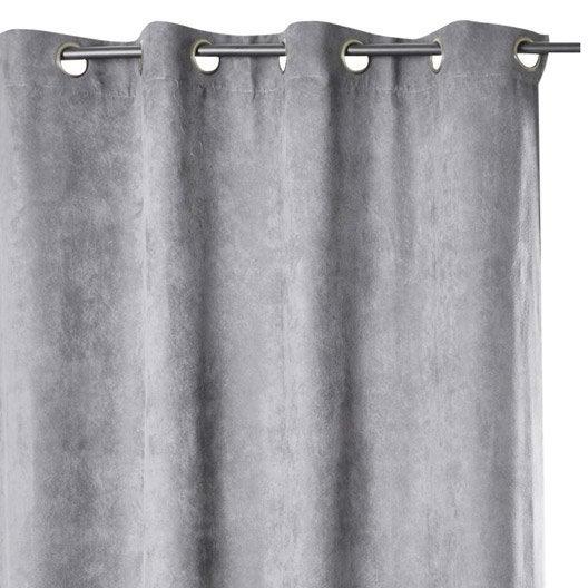 rideau occultant suedine occultante gris x. Black Bedroom Furniture Sets. Home Design Ideas