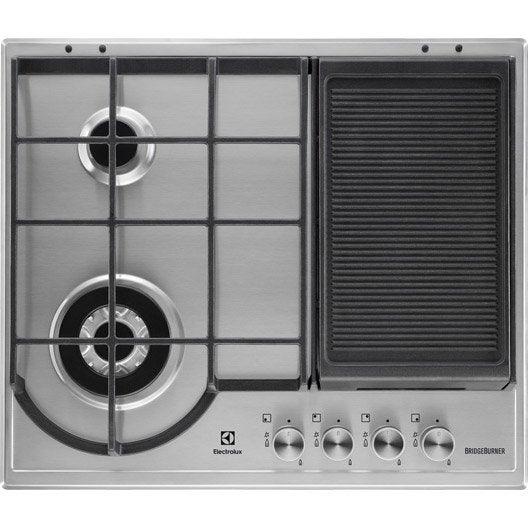 plaque de cuisson gaz 4 foyers, inox antitrace, electrolux