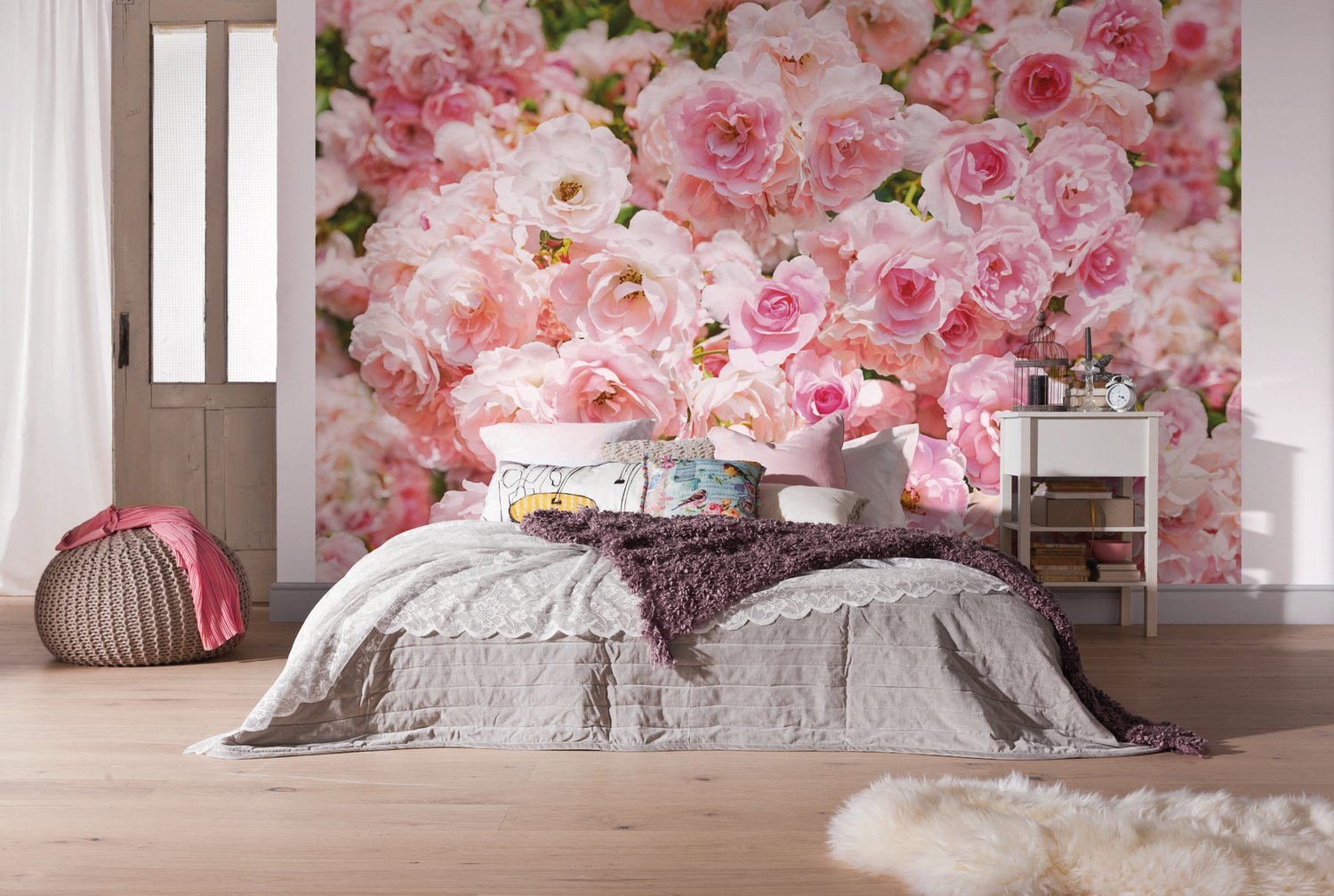 une poster g ant de roses rose pour la t te de lit leroy merlin. Black Bedroom Furniture Sets. Home Design Ideas
