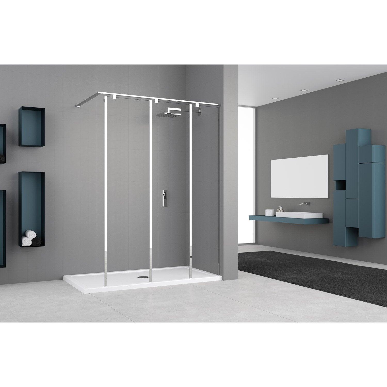 paroi de douche l 39 italienne cm cm verre transparent 8 mm eliseo leroy merlin. Black Bedroom Furniture Sets. Home Design Ideas