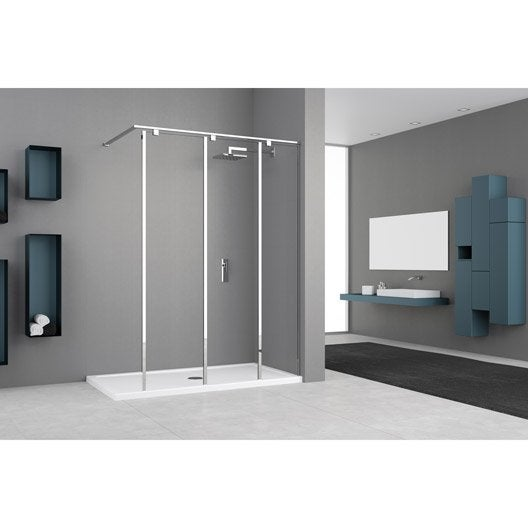 paroi de douche l 39 italienne cm cm verre transparent 8 mm eliseo leroy merlin. Black Bedroom Furniture Sets. Home Design Ideas