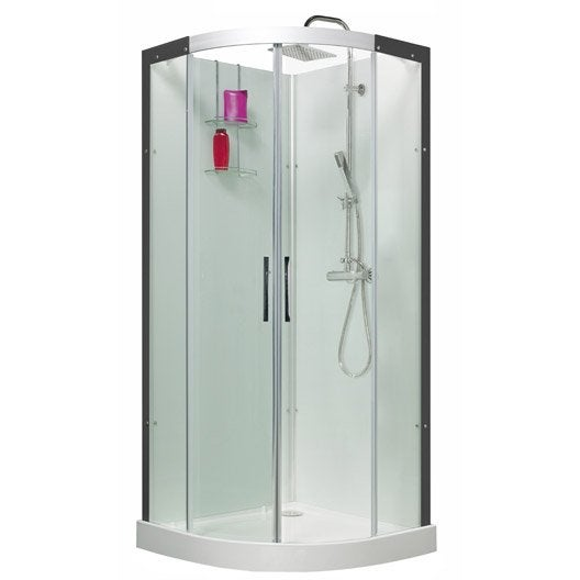 cabine de douche 1 4 de cercle 90x90 cm thalaglass 2 thermo leroy merlin. Black Bedroom Furniture Sets. Home Design Ideas