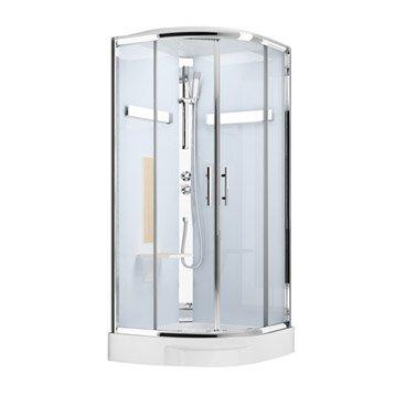 Cabine de douche 1/4 de cercle 90x90 cm, Ilia chêne