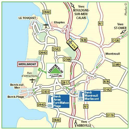 Plan d'accès au magasin Leroy Merlin d'Amiens