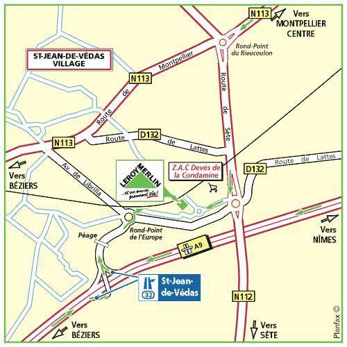 Plan d'accès au magasin Leroy Merlin de Martigues