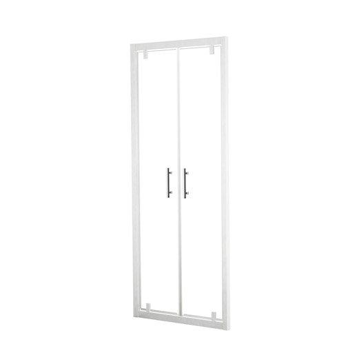 porte de douche battante 66 72 cm profil blanc elyt leroy merlin. Black Bedroom Furniture Sets. Home Design Ideas