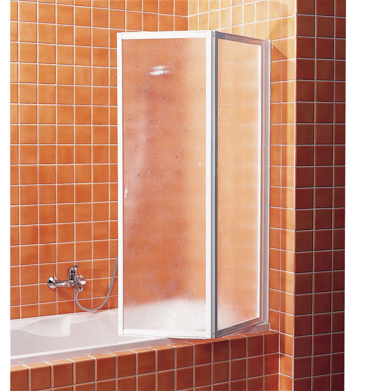 Pare-baignoire 2 volets pivotant pliant H.140 cmx l.91 cm G02 | Leroy Merlin
