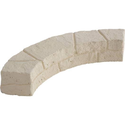 Muret En Pierre Reconstituée dedans bordure courbe c�vennes pierre reconstitu�e naturel, h.11 x l.60 cm