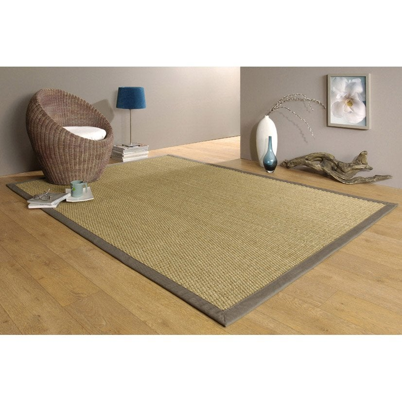 tapis taupe jonc de mer 4x4 x cm leroy merlin. Black Bedroom Furniture Sets. Home Design Ideas