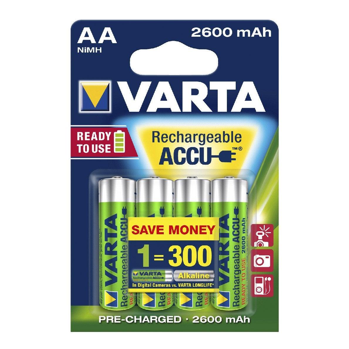 Lot de 4 piles rechargeable lr06 aa 1 5 v 2600 mah - Pile rechargeable aa ...