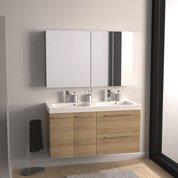 Meuble sous-vasque l.121 x H.57.7 x P.46 cm, imitation chêne, SENSEA Remix