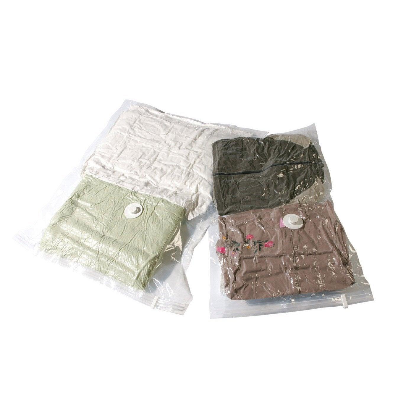 lot de 2 sacs rangement sous vide compactor translucide x xp leroy merlin. Black Bedroom Furniture Sets. Home Design Ideas