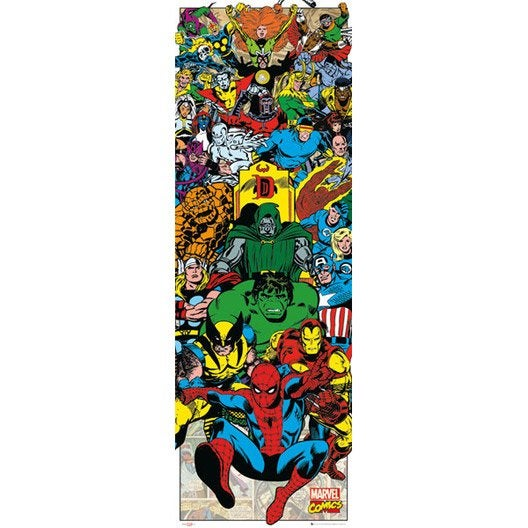 Affiche contrecoll e marvel characters 53x158cm for Miroir 90x30