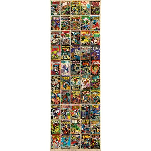 Affiche contrecoll e marvel covers 53x158cm for Miroir 90x30