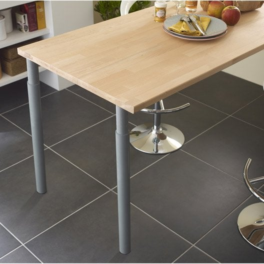pied de plan de travail cylindrique r glable m tal poxy gris de 70 110 cm leroy merlin. Black Bedroom Furniture Sets. Home Design Ideas