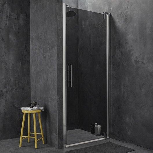 Porte de douche pivotante 87 5 91 5 cm profil chrom for Leroy merlin porte douche
