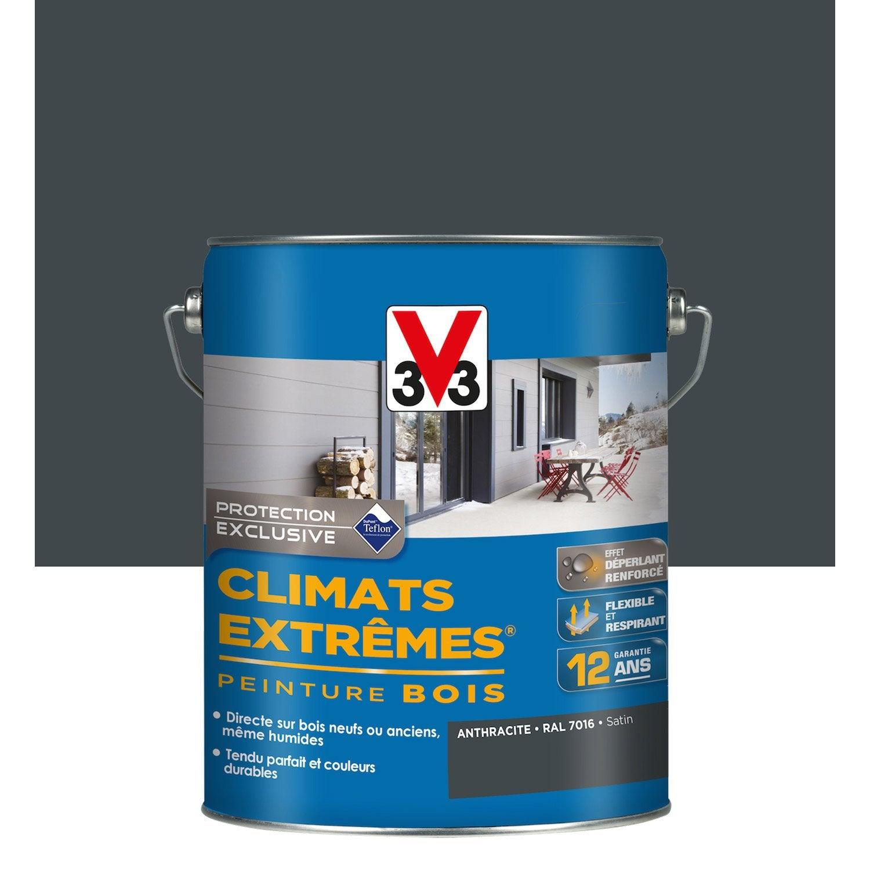 Peinture Bois Extérieur Climats Extrêmes V33, Satin Gri.