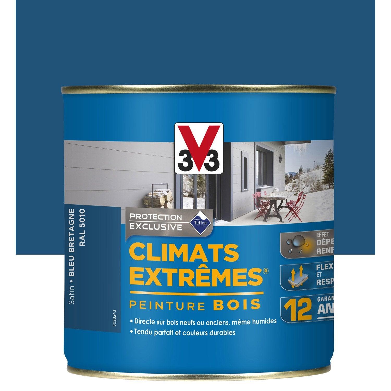 peinture bois ext rieur climats extr mes v33 bleu bretagne 0 5 l leroy merlin. Black Bedroom Furniture Sets. Home Design Ideas