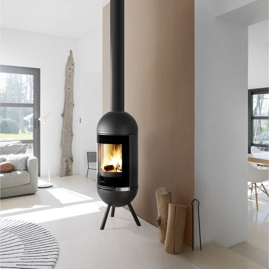 po le bois invicta alcande anthracite 6109 44 6 kw leroy merlin. Black Bedroom Furniture Sets. Home Design Ideas
