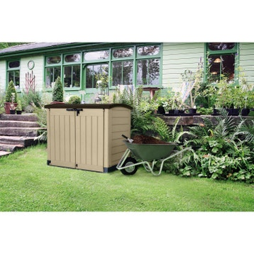 coffre de jardin rsine store it out arc marron beige l146 x h - Banc Coffre De Jardin