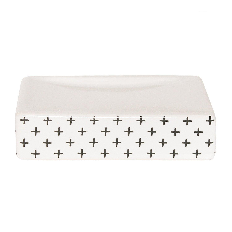 Porte-savon céramique Cross, gris zingué 1, blanc