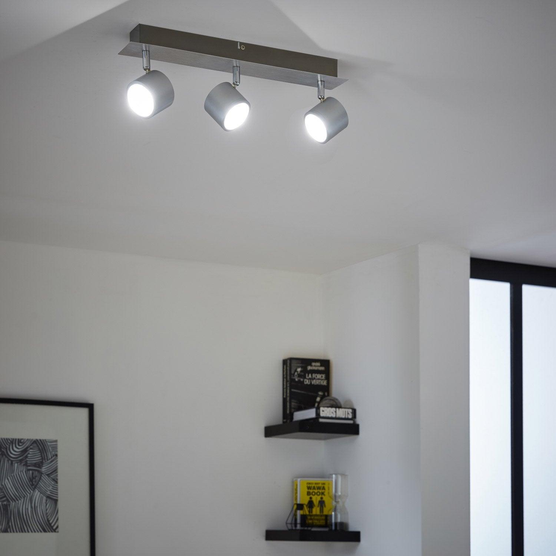 rampe 3 spots design lixa 3 xled int gr e acier inspire. Black Bedroom Furniture Sets. Home Design Ideas