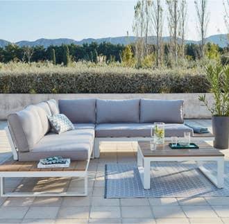 Salon bas de jardin Ibiza aluminium blanc, 5 personnes   Leroy Merlin