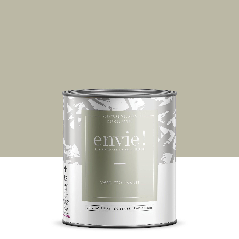 Peinture dépolluante mur, boiserie, radiateur ENVIE vert mousson velours 0.5 l