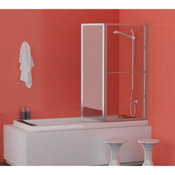 Pare-baignoire 2 volets verre de sécurité 3 mm transparent, Lm 104