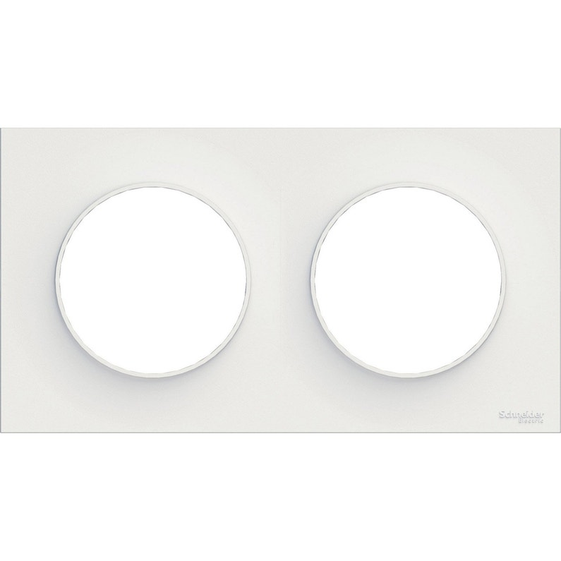 Plaque Double Odace Schneider Electric Blanc