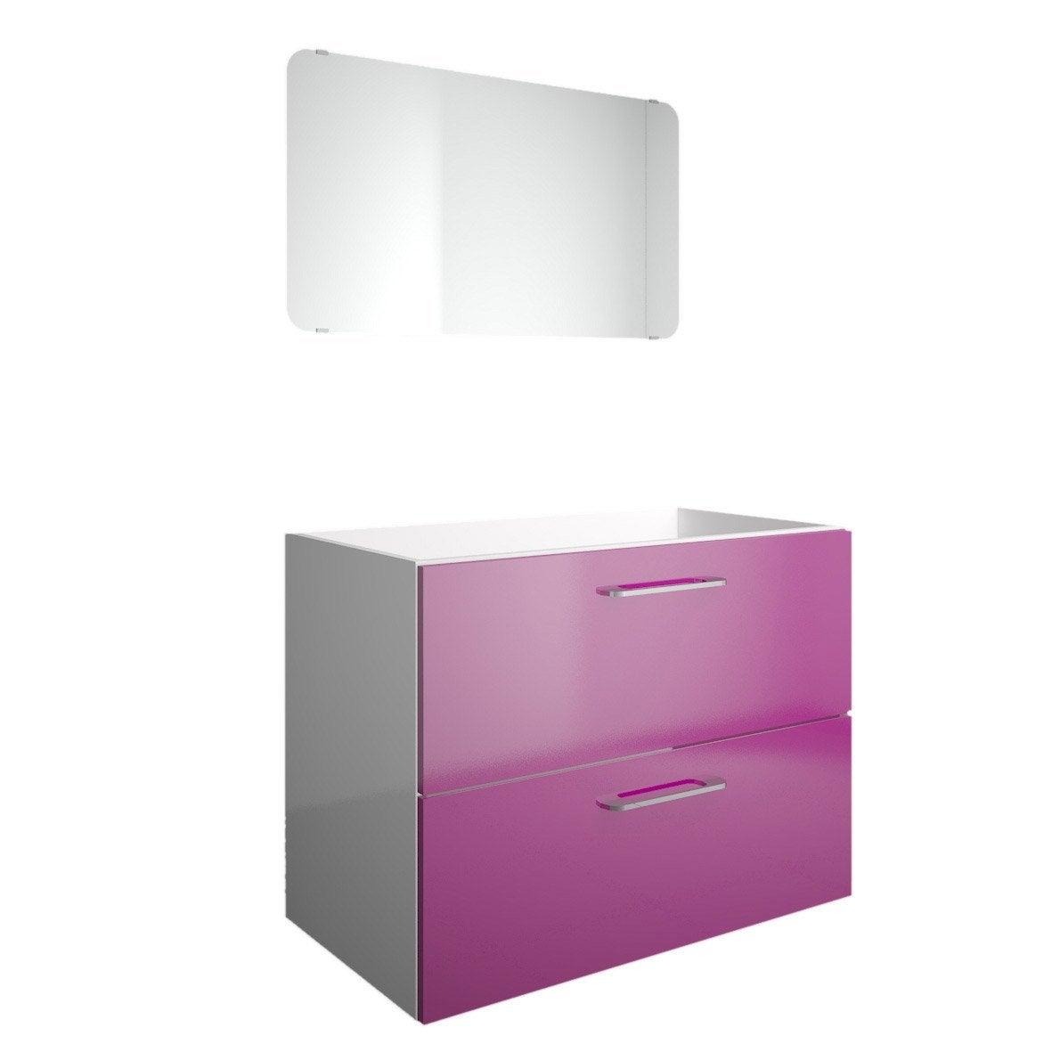 meuble sous vasque 2 tiroirs miroir x x cm violet happy leroy merlin. Black Bedroom Furniture Sets. Home Design Ideas