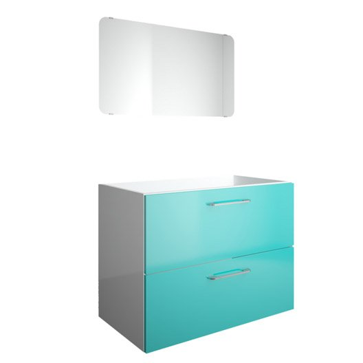 meuble sous vasque 2 tiroirs 80 cm happy bleu atoll n 4 miroir leroy merlin. Black Bedroom Furniture Sets. Home Design Ideas