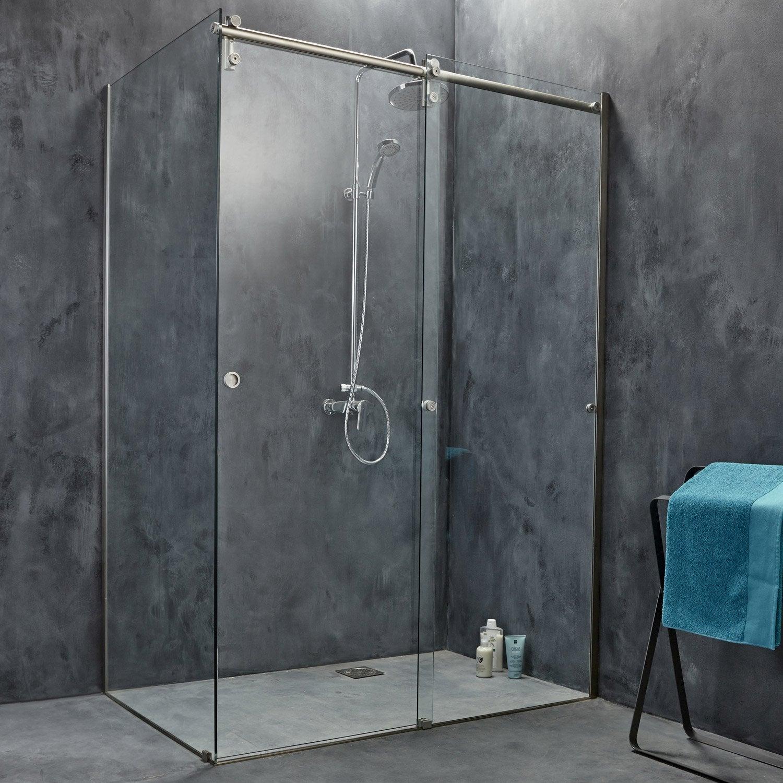Porte de douche coulissante, transparent, Ellipse   Leroy Merlin