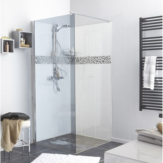paroi de douche l 39 italienne cm verre fum 6 mm open 2 6mm leroy merlin. Black Bedroom Furniture Sets. Home Design Ideas