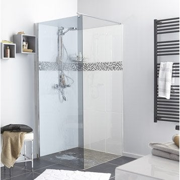 Paroi de douche à litalienne Open 2 6mm, profilé chromé, l.90 cm