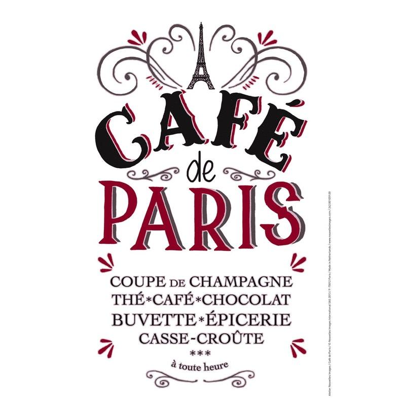 Sticker Café De Paris 24 Cm X 36 Cm