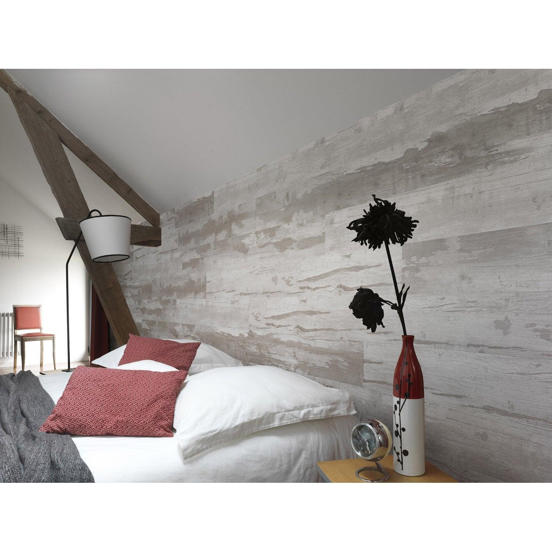 Lambris PVC bois cabane naturel GROSFILLEX L.120 x l.15.4 cm x Ep ...