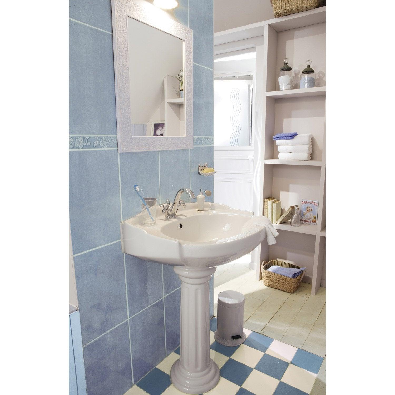 lavabo pour colonne en c ramique blanc retro leroy merlin. Black Bedroom Furniture Sets. Home Design Ideas