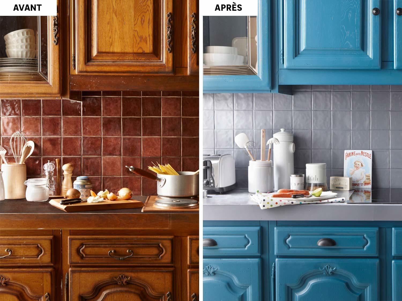 Une cuisine relookée en bleu | Leroy Merlin