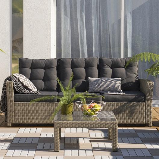 Canapé 3 places de jardin en résine tressée Daveport beige | Leroy ...