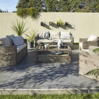 Salon bas de jardin Isa résine tressée gris, 5 personnes | Leroy Merlin
